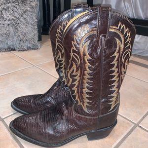 Tony Lama Men's Cowboy Boots Lizard Leather 10.5 D